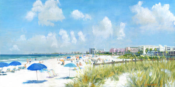 Crescent Beach Poster featuring the painting Crescent Beach On Siesta Key by Shawn McLoughlin