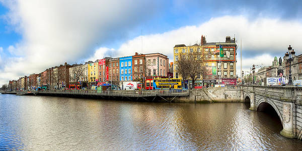 Dublin Poster featuring the photograph Dublin River Liffey Panorama by Mark E Tisdale