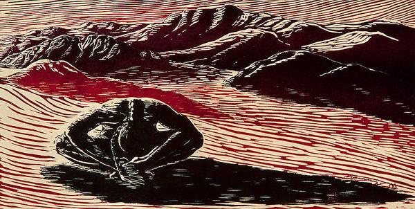 Woman In Desert Poster featuring the relief Entre Viento Y Sol by Maria Arango Diener