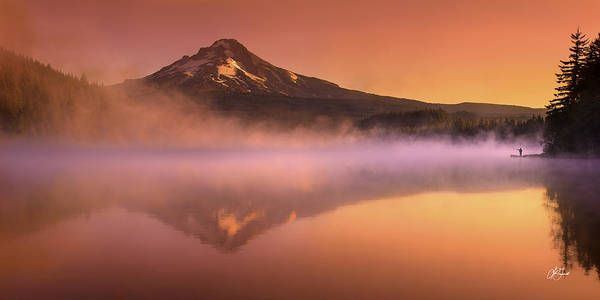 Trillium Lake Poster featuring the photograph Fishing In The Fog by Lori Grimmett