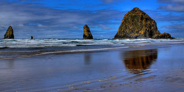 Cannon Beach Poster featuring the photograph Haystack Rock And The Needles II by David Patterson