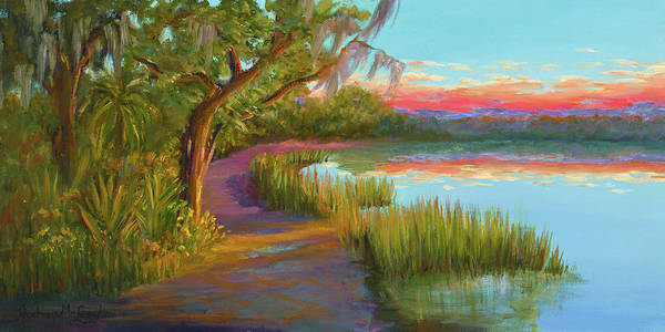 Coastal Marsh Creek Poster featuring the painting Hunting Island Sunset by Audrey McLeod