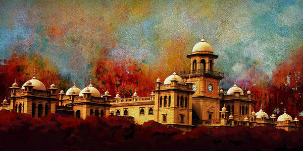 Pakistan Poster featuring the painting Islamia College Lahore by Catf