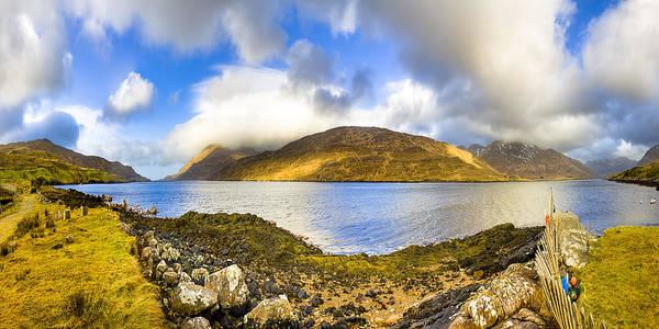 Galway Poster featuring the photograph Killary Fjord - Irish Panorama by Mark E Tisdale