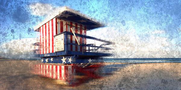 America Poster featuring the photograph Modern-art Miami Beach Watchtower by Melanie Viola
