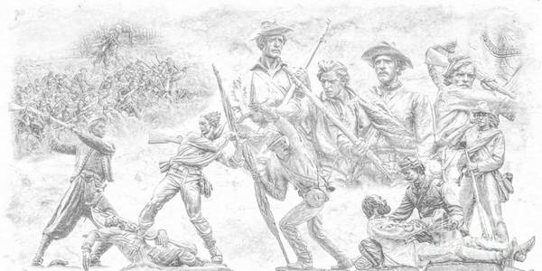 Monuments On The Gettysburg Battlefield Sketch Poster featuring the digital art Monuments On The Gettysburg Battlefield Sketch by Randy Steele
