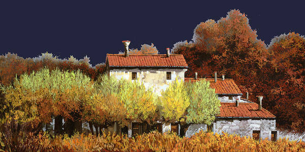 Vineyard Poster featuring the painting Notte In Campagna by Guido Borelli