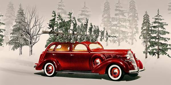 car poster featuring the photograph old time christmas tradition tree cutting by david dehner