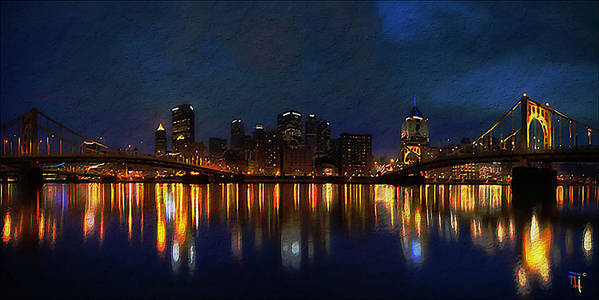 Blue Poster featuring the digital art Pittsburgh Skyline 2 by Fli Art