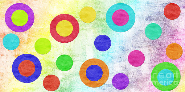 Abstract Poster featuring the digital art Polka Dot Panorama - Rainbow - Circles - Shapes by Andee Design