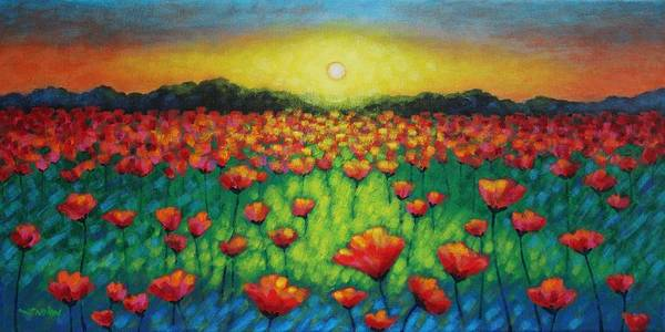 Acrylic Poster featuring the painting Poppies At Twilight by John Nolan