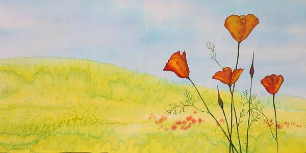 Poppies Poster featuring the tapestry - textile Poppies In A Field by Carolyn Doe