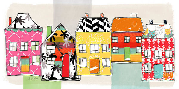 Houses Poster featuring the mixed media Spirit House Row by Linda Woods