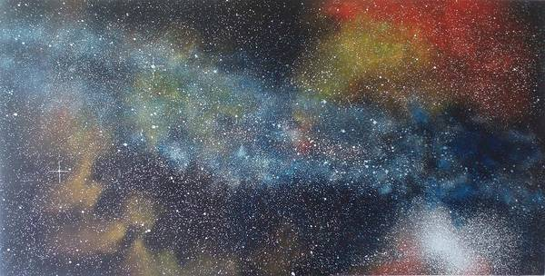 Space;stars;starry;nebula;spiral;galaxy;star Cluster;celestial;cosmos;universe;orgasm Poster featuring the painting Stargasm by Sean Connolly