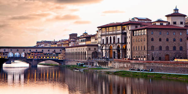 Italy Poster featuring the photograph Sunset On Ponte Vecchio In Florence by Susan Schmitz