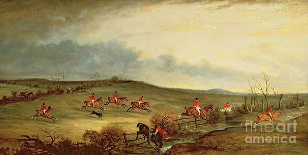 Fox Hunting Poster featuring the painting The Quorn In Full Cry Near Tiptoe Hill by John E Ferneley