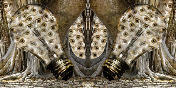 Lightbulb Poster featuring the digital art Vast Knowledge I by Betsy Knapp