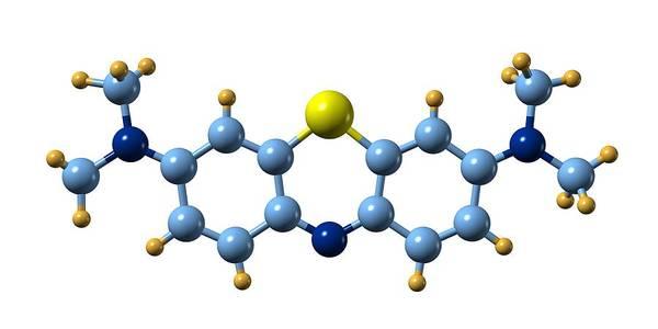 Methylene Blue Poster featuring the photograph Methylene Blue, Molecular Model by Dr Mark J. Winter