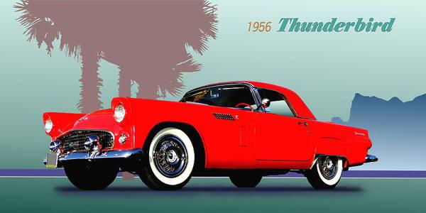 1956 Poster featuring the digital art 1956 Thunderbird by Robert Bissett