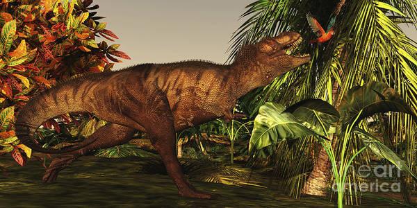 Dinosaur Poster featuring the digital art A Tyrannosaurus Rex Runs by Corey Ford