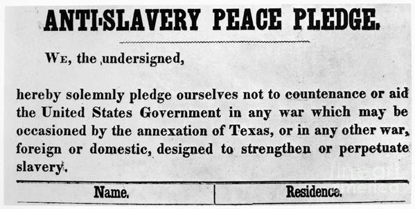 1845 Poster featuring the photograph Abolitionist Peace Pledge by Granger