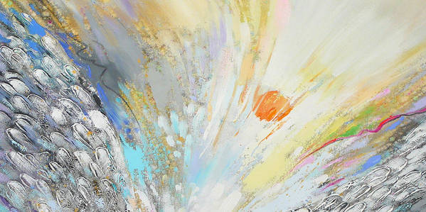 Abstract Poster featuring the painting Angel's Presence 4 by Petia Papazova