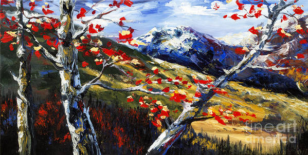 Tree Paintings Poster featuring the painting Birch Forest 5 by Madhav Singh