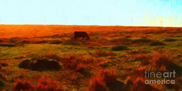Long Poster featuring the photograph Cow Grazing In The Hills by Wingsdomain Art and Photography