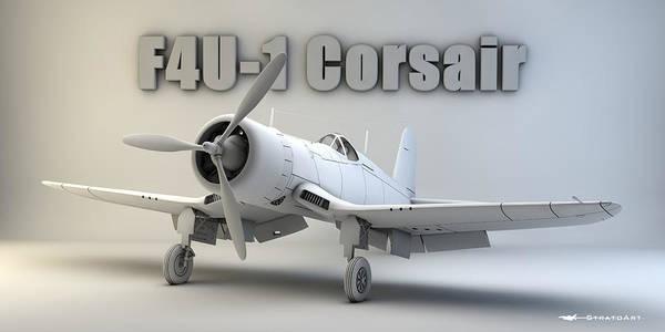 F4u Corsair Poster featuring the digital art F4u-1 Corsair by Dale Jackson