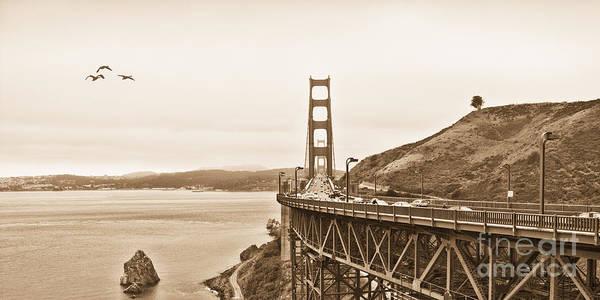 Golden Gate Bridge Poster featuring the photograph Golden Gate Bridge In Sepia by Betty LaRue
