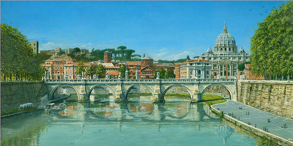 Landscape Poster featuring the painting Il Fiumi Tevere Roma by Richard Harpum