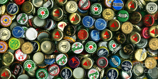 Long Poster featuring the photograph Pile Of Beer Bottle Caps . 2 To 1 Proportion by Wingsdomain Art and Photography