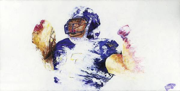 Oil Painting Art Artwork Acrylic Impressionist Impressionism Palette Knife Texture Giclee Print Reproduction Colorful Bright Athlete Athletic Sports Figures Human Ray Lewis Baltimore Ravens Football Afc National Football League Nfl Play Of The Day Highlight Running Back Leader M&t Bank Stadium Team Rutgers College Spiritual Community Service Religious Foundation Rusher Color Colour Colourful Poster featuring the painting Ray Rice by Ash Hussein