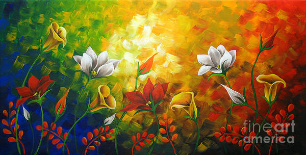 Floral Paintings Poster featuring the painting Sentient Flowers by Uma Devi