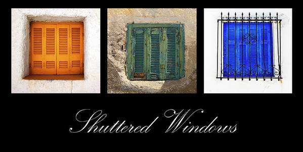 Window Poster featuring the photograph Shuttered Windows by Meirion Matthias