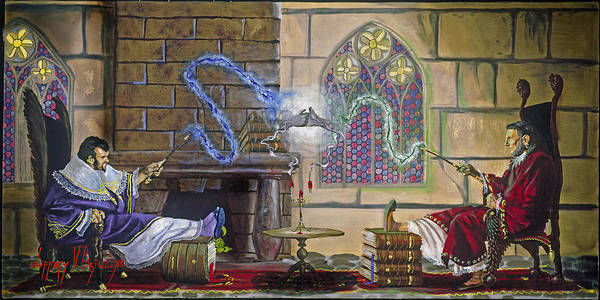 Jeffrey V. Brimley Poster featuring the painting Wizards Duel by Jeff Brimley