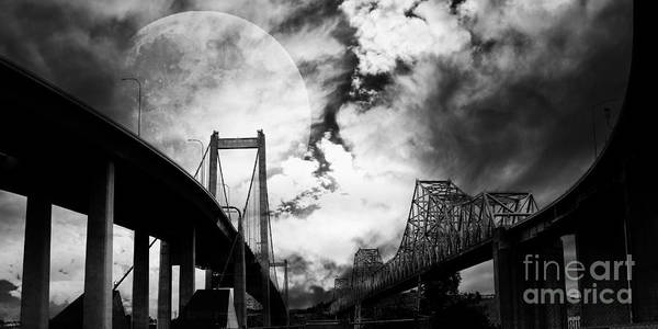 Transportation Poster featuring the photograph Two Bridges One Moon by Wingsdomain Art and Photography