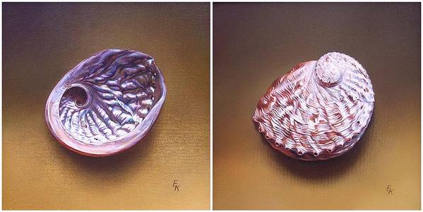 Shell Poster featuring the painting Abalone Shell by Elena Kolotusha