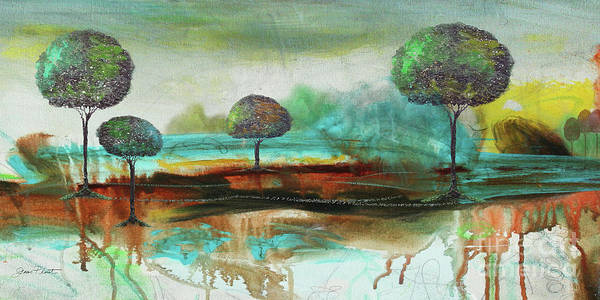 Abstract Poster featuring the painting Abstract Fantasy Landscape by Jean Plout