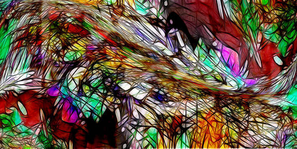 Abstract Poster featuring the digital art Abstracto En Dimension by Galeria Trompiz