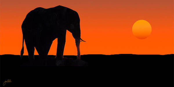 Elephant Poster featuring the painting African Sunset by Joe Costello