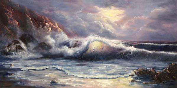 Ocean Poster featuring the painting After The Storm by Joni McPherson