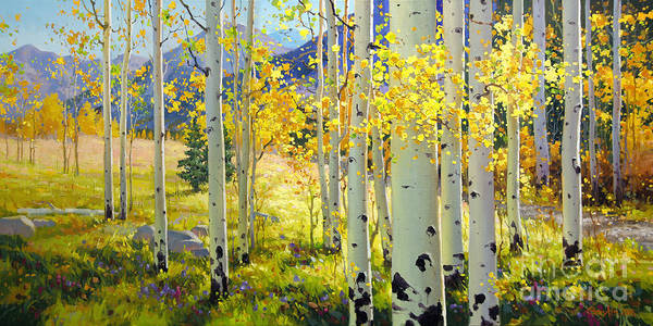 Aspen Oil Painting Birch Trees Gary Kim Oil Print Art Woods Fall Autumn Tree Panorama Sunset Beautiful Beauty Yellow Red Orange Fall Leaves Foliage Autumn Leaf Color Mountain Oil Painting Original Art Horizontal Landscape National Park America Morning Nature Wallpaper Outdoor Panoramic Peaceful Scenic Sky Sun Time Travel Vacation View Season Bright Autumn National Park Southwest Mountain Clouds Cloudy Landscape Afternoon Aspen Grove Natural Peak Painting Oil Original Vibrant Texture Reflections Poster featuring the painting Afternoon Aspen Grove by Gary Kim