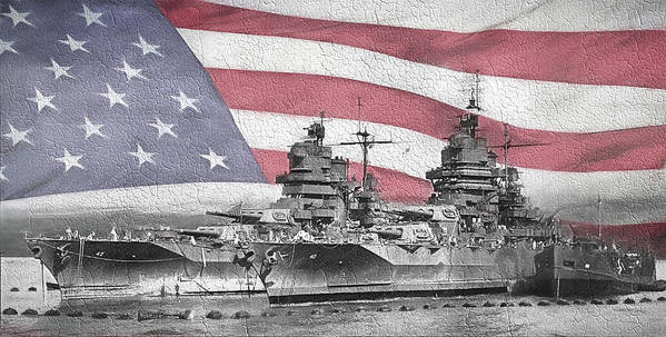 Uss Idaho Poster featuring the digital art American Naval Power by JC Findley