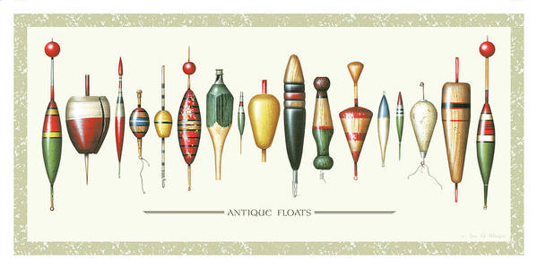 Jon Q Wright Poster featuring the painting Antique Bobbers by JQ Licensing