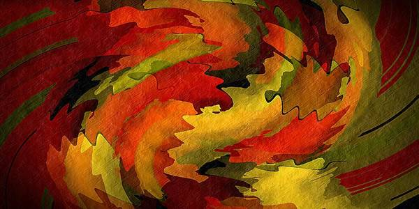 Abstract Poster featuring the digital art Autumn Leaves by Terry Mulligan