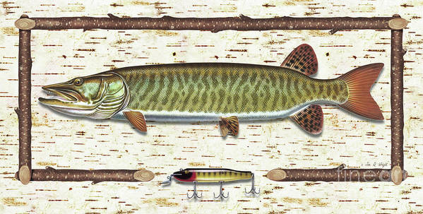 Musky Poster featuring the painting Birch Musky by JQ Licensing