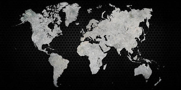 Black Metal Industrial World Map Poster on