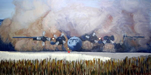C130 Oil Painting Poster featuring the painting C130 Landing In Alaska by Brian McCullough