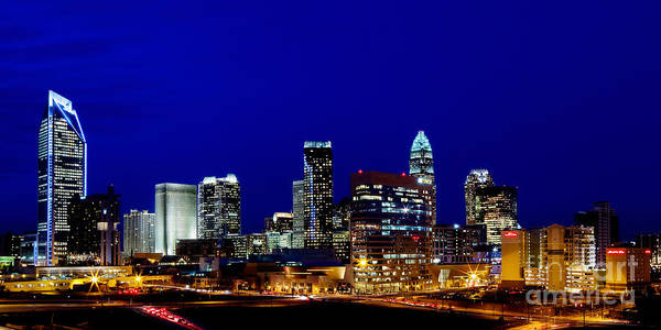 Charlotte Nc Photography Poster featuring the photograph Charlotte Nc Skyline At Dusk by Patrick Schneider